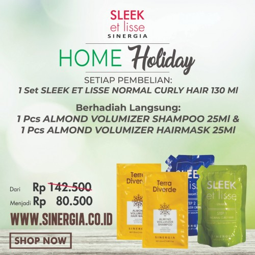 Promo Bundling! 1 Set Sleek Normal 130ml Free 1 Pcs Almond Volumizer Shampoo 25ml dan 1 Pcs Hairmask 25ml