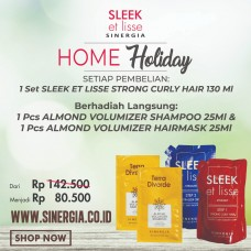 Promo Bundling! 1 Set Sleek Strong 130ml Free 1 Pcs Almond Volumizer Shampoo 25ml dan 1 Pcs Hairmask 25ml